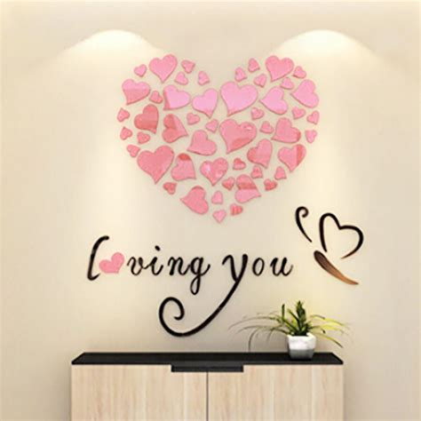 Hearts Wall Stickers diy 3d hearts mirror wall stickers wedding party bedroom