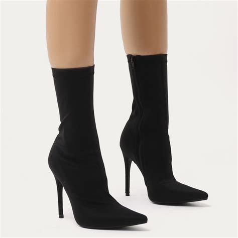 sock boots cheap direct pointy sock boots in black stretch desire