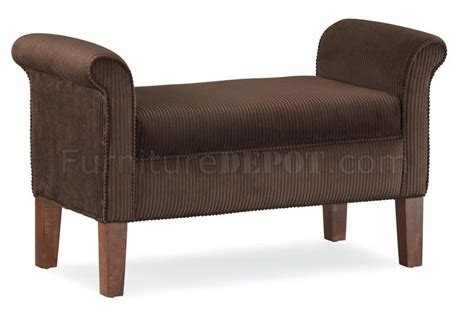 bench with rolled arms chocolate fabric traditional bench w rolled arms