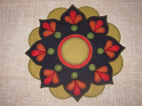 wool rug patterns sunset flower tablemat rug pattern 14 quot dia wool felt embroidery ebay
