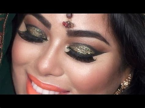 makeup tutorial indian wedding indian bridal makeup tutorial green and gold glitter