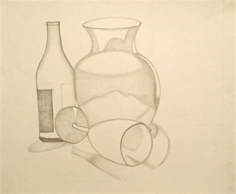 Drawing Of Vase by The Vase And Wine Bottle Drawing By Teri Schuster