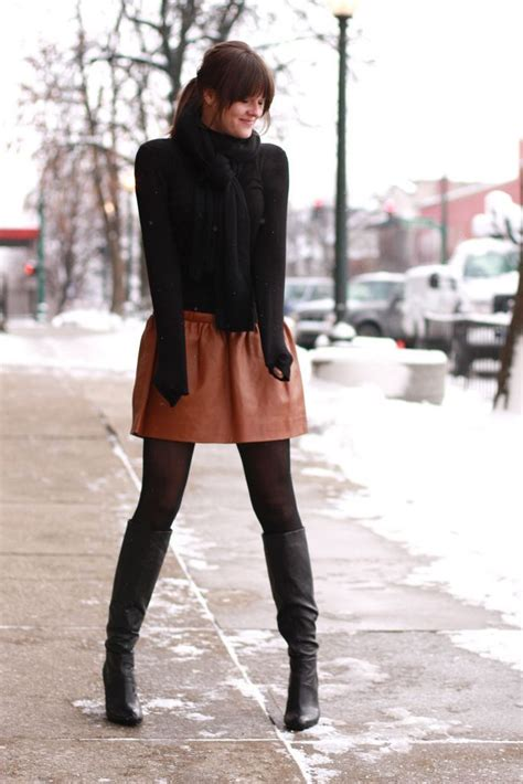 winter fashion 2014 knee high boots black tights