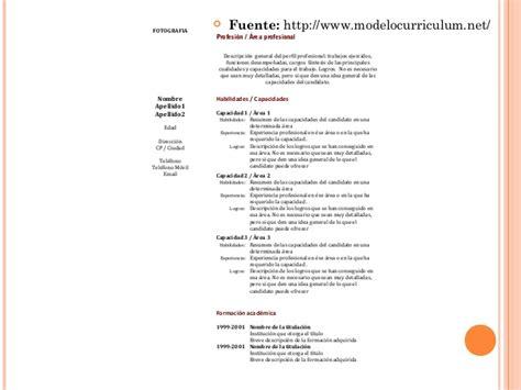 Modelo Curriculum Vitae Habilidades Modelo De Curriculum Vitae Upc Modelo De Curriculum Vitae