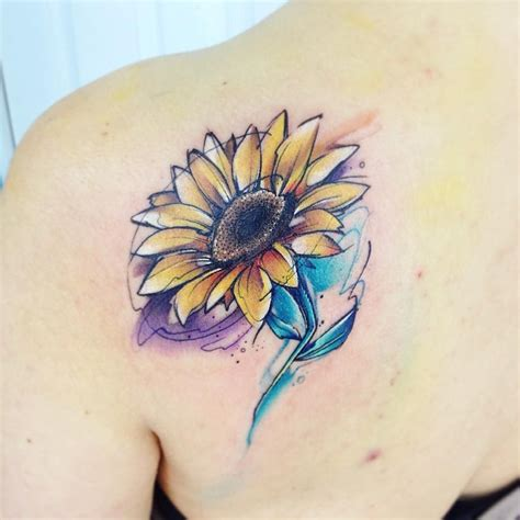 sunflower watercolor tattoo gira ab tatuaje yellow amarillo flor