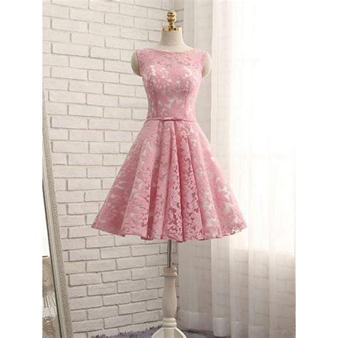 Id Pink Lace Dress pink homecoming dresses homecoming dresses lace