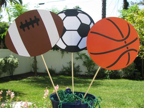 sports table decorations football basketball by mypaperpantry