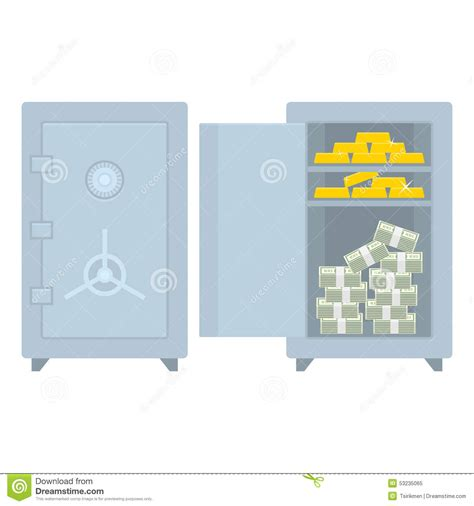 eps format how to open safe closed open with money and gold stock vector image