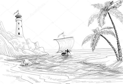 how to draw a beached boat arbres de croquis phare bateau et paume paysage marin