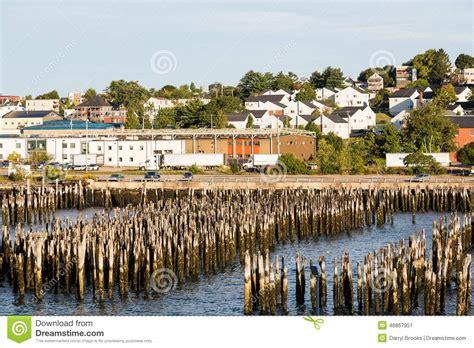 wood posts  harbor  portland maine stock image image
