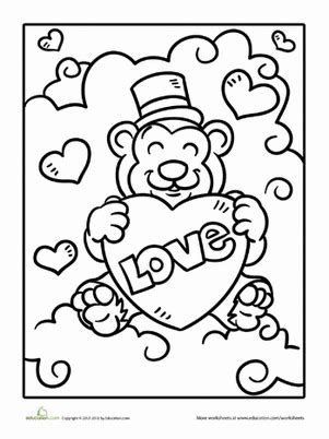 valentines day coloring pages education com valentine bear worksheet education com