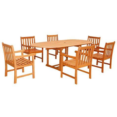 Wood Patio Dining Table Vifah Eco Friendly 7 Wood Outdoor Dining Set With Oval Extension Table V144set23 The
