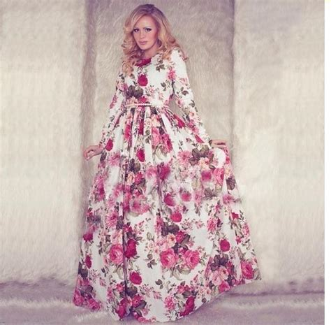New Dress Flower Maxy 2 By new floral maxi dress 2015 summer sleeve o neck