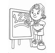 Noddy Writes Numbers 1 2 3 On The Board Coloring Page