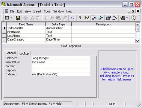 draw data microsoft access 2003 create a table