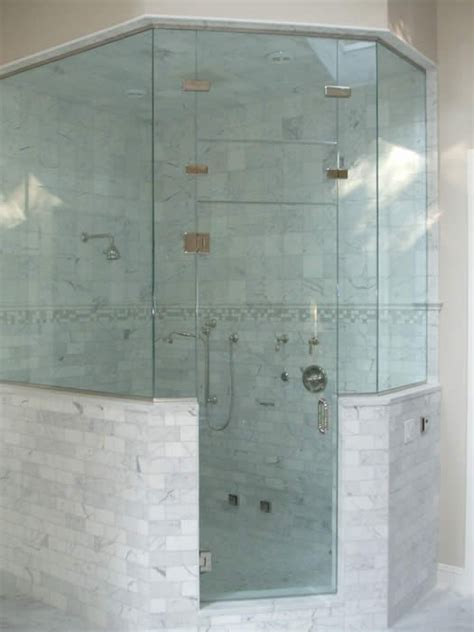 Shower Half Wall by Neo Angle Shower With Tiled Half Walls Bathroom Ideas