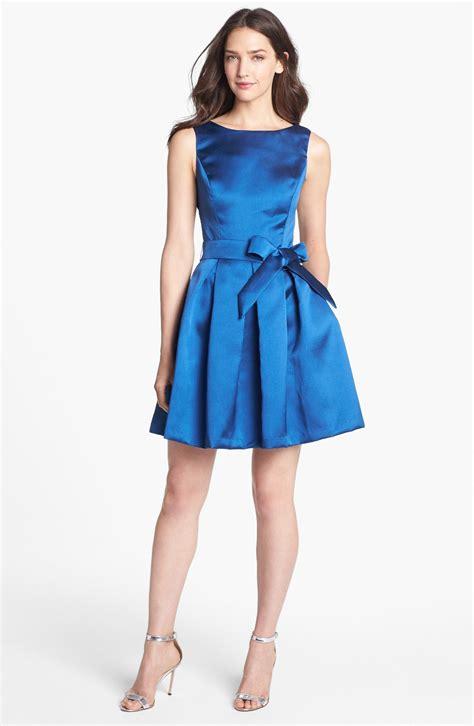 isaac mizrahi new york mikado fit flare dress in blue