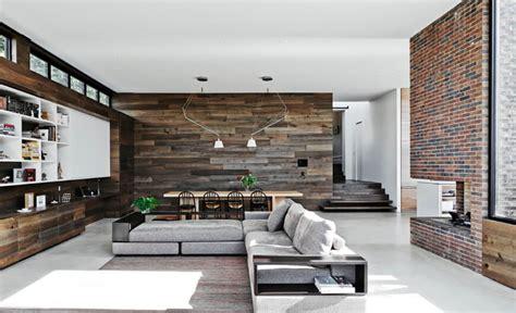 living room malvern wood and brick walls bring this modern interior to