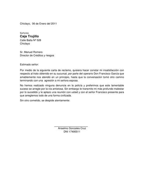 carta formal queja modelo de carta de reclamo