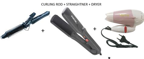 Hair Dryer And Straightener At branded grooming trio hair dryer straightener curler