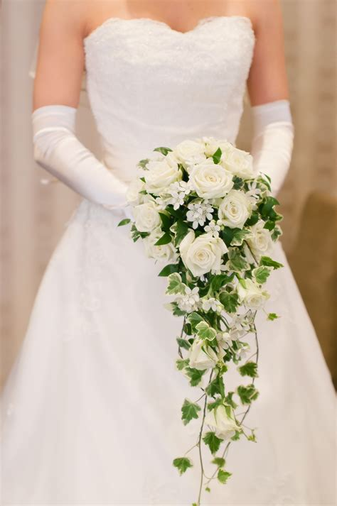 The S Bouquet by Cascading Bouquet Of White Roses And Bouquet