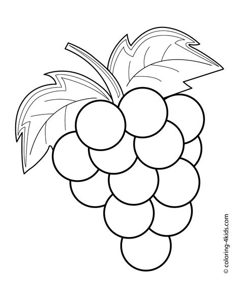 free coloring page of grapes grapes fruits and berries coloring pages for kids