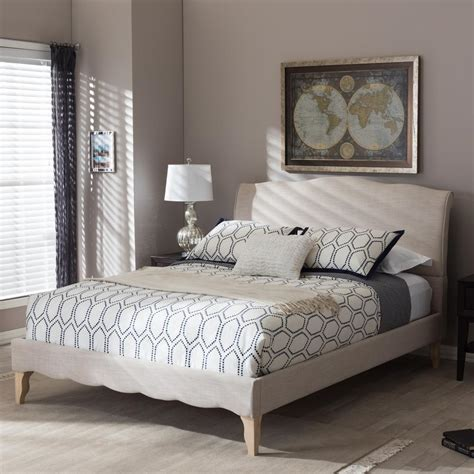 buy home styles duet upholstered baxton studio fannie beige king upholstered bed 28862 7013