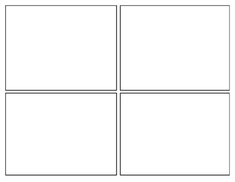 blank four square writing template professional