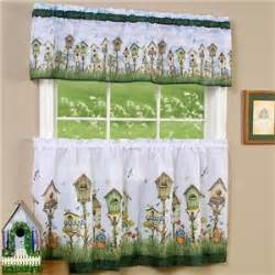 Birdhouse Kitchen Curtains 3 Pc Birdhouse Kitchen Curtains Tier Valance Set 36 Quot New Ebay