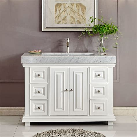 Bathroom Vanity Marble 48 Inch White Finish Contemporary Bathroom Vanity Integrated Carrara Marble R Sink
