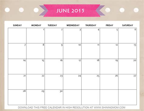 8 lovely july 2015 calendars