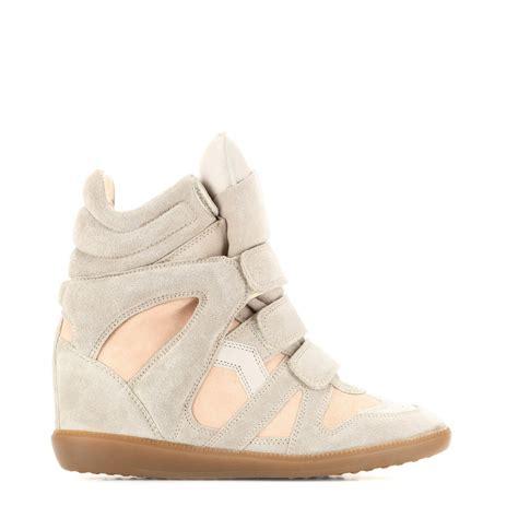 beige wedge sneakers price 80 marant bekett leather and suede beige