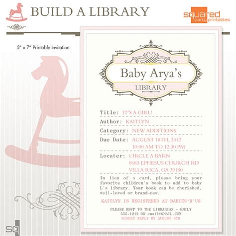 Page Shower by Library Book Baby Shower Printable Invitation Diy Print