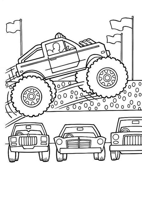 free coloring pages cars and trucks truck truck jumps cars coloring