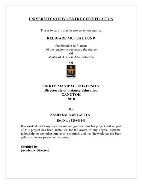 Sikkim Manipal Mba Certificate by 47729917 Religare Fund Project