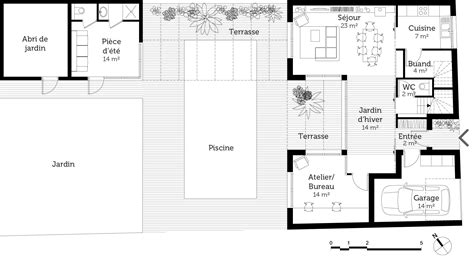 plan maison 3 chambre plan maison en u avec 3 chambres ooreka
