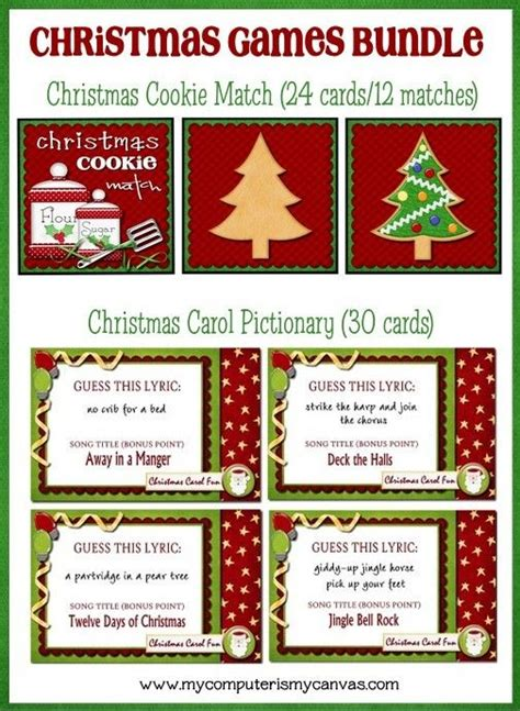 printable christmas pictionary cards christmas carol pictionary printable instant download