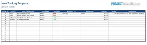 Issue Tracking Template Projectmanager Com Issue Tracking Log Template