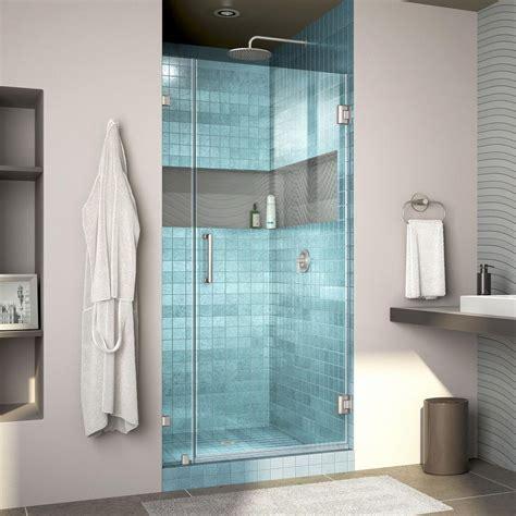 34 Shower Door Dreamline Unidoor 34 In X 72 In Semi Frameless Hinged Shower Door In Satin Black With Handle