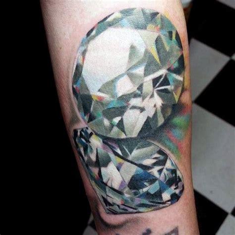 tattoo 3d diamond awesome multicolored realistic diamonds tattoo on ankle