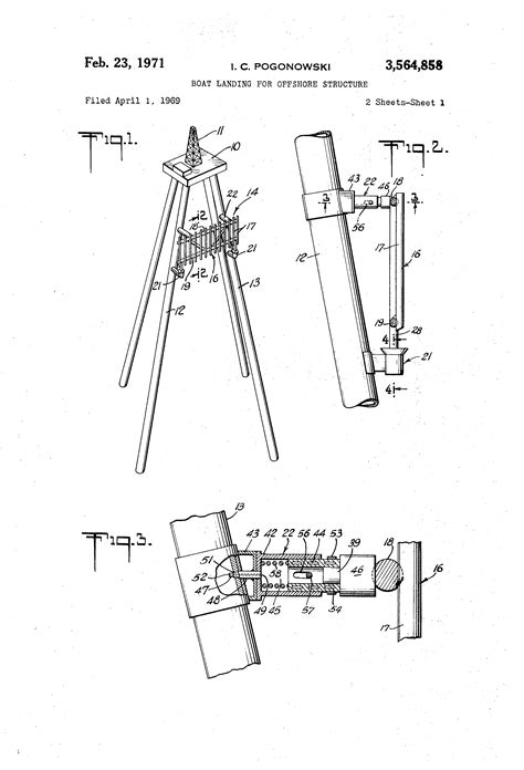 boat landing drawing patent us3564858 boat landing for offshore structure