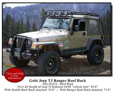 gobi jeep wrangler tj ranger recon roof rack gjtjr