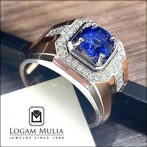 Cincin Mewah Safir Cylon Bertabur Berlian jual cincin berlian pria dg blue sapphire dvmc e178393 tlnd logammuliajewelry