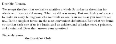 Closing Letter From The Breakfast Club The Breakfast Club A Day In The Of A