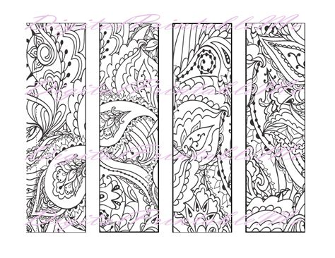 printable bookmarks coloring pages printable bookmark coloring page book mark adult instant