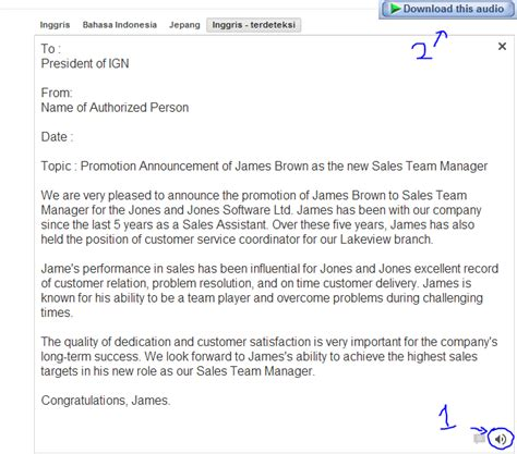 sle letter announcing promotion sle business letter