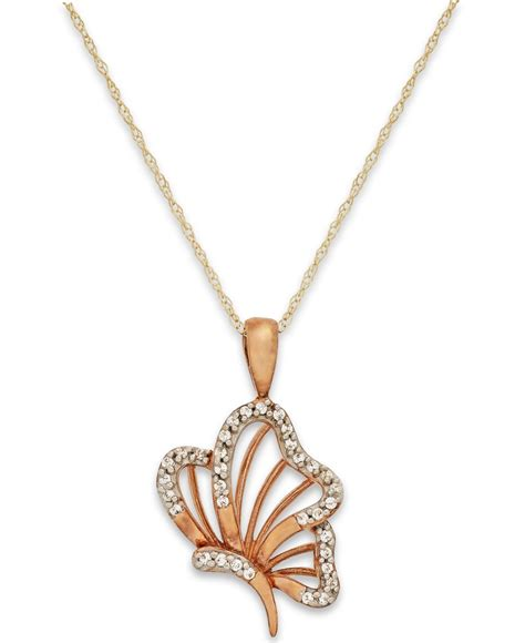 macy s accent butterfly pendant necklace in 10k