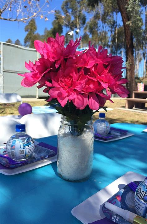 frozen table centerpieces disney s frozen birthday ideas pink purple blue