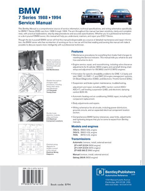 back cover bmw repair manual bmw 7 series e32 1988 1994 bentley publishers repair