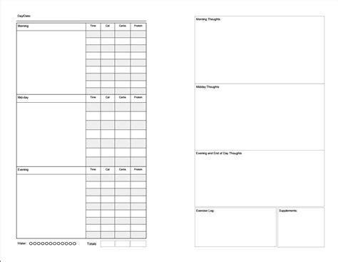 printable low carb food journal printable food diary